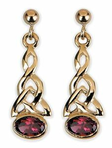 9ct Yellow Gold Celtic Drop Earrings- Garnet ER4SG