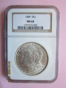 1889 Morgan Silver Dollar - Graded by NGC MS 64