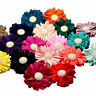 Ruffled Layered Chiffon Flower Hair Elastic Band Bobble. Gold Button Detail.