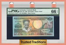 TT PK 134 1988 SURINAME CENTRALE BANK 250 GULDEN PMG 66 EPQ GEM TOP POPULATION