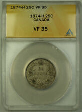 1874-H Canada Silver Quarter 25c ANACS VF-35 JMX