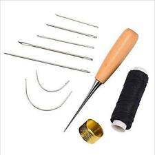 7Pcs Leather Craft Tool Set Tools Kit Hand Stitching Sewing Thread Awl Thimble Z