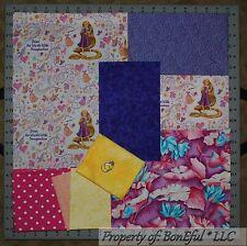 BonEful Fabric COTTON SCRAP QUILT LOT Tangled Rapunzel Pink Flower Disney US Dot