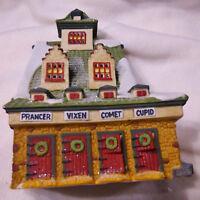 "Vintage Dept 56 North Pole Village ""Reindeer Barn""- Excellent Condition"