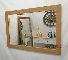 Natural Oak Finish Wood Frame Wall Mirror Rectangular Bevelled Glass 106x76cm