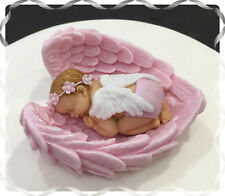 Fatto A Mano Bambina Pink Angel CAKE TOPPER Battesimo Baby Shower Compleanno