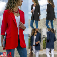 Women Slim Casual Blazer Jacket Top Outwear Long Sleeve OL Formal Long Coat US