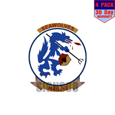 HAL-3 Helicopter Attack Squadron Light Seawolves 4 pack 4x4 Inch Sticker Decal