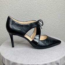 Nine West Size 11 Black Pointed Toe Tie Heels