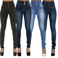 Womens High Waist Skinny Denim Jeans Slim Jeggins Jeggings Trousers Pencil Pants