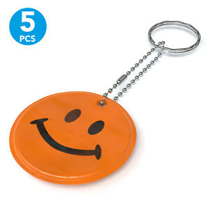 5x Reflector Pendant For Cartable Backpack Jacket Children Protection Smiley