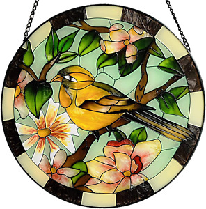 """Lio'S Art Painted Stained Glass For Window Hangings   Large Round 10""""   Bird"""
