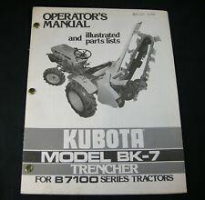 Kubota BK-7 Trencher For B7100 Series Tractors Parts Operators Owner Manual Book