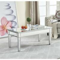 """MIRRORED COFFEE TABLE ANTIQUE SILVER FINISH LIVING DINING ROOM BEDROOM FOYER 40"""""""