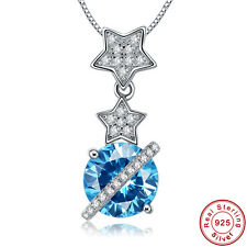 100% S925 Sterling Gemstones Silver Pendants lingmei London Blue & Whtie Topaz