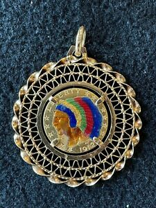 1912 Indian head $5 gold coin, painted, in 18 karat bezel
