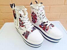 White Tiger Pattern Platform Boots Size UK 9 (EU 43) Excellent Condition