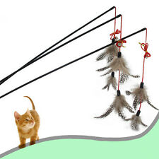 New listing New Steel Wire Kitten Cat Toy Feather Rod Teaser Bell Play Pet Dangler Wand Xr