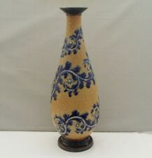 More details for royal doulton lambeth george tinworth tall vase scrolling decoration 1879
