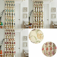 "Kinsale Floral Cotton Lined Pleated Tape Top Door Curtain 46"" x 84"" & 66"" x 84"""