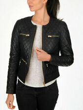 New Women's Black Quilted Slim Fit Biker Style Moto Lambskin Leather Jacket