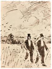 """Georges D'ESPAGNAT -""""Promenade dans la campagne""""-  Dessin à l'encre et au lavis"""
