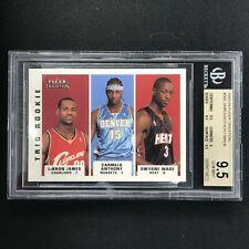 2003-04 Fleer Tradition LEBRON JAMES CARMELO WADE Trio Rookie BGS 9.5 #300