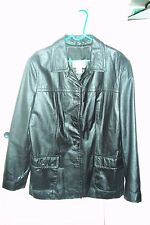 VINTAGE Womens Paradox Black Leather Coat / Jacket Size Missy L EX [CON) LOOK-C