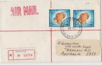 Stamps Papua New Guinea 1976 cover sent registered provisional AFORE & postmark