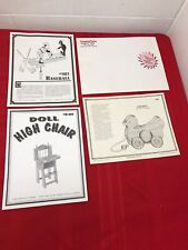 3 Vtg. Woodworking Patterns Cherry Hill Toys.Doll High Chair, Chicken, Baseball