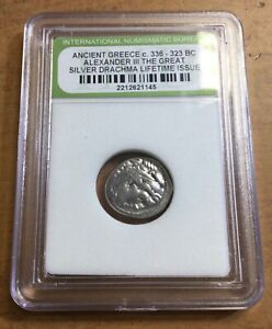 336-323 BC ANCIENT GREECE ALEXANDER III THE GREAT SILVER DRACHMA COIN!