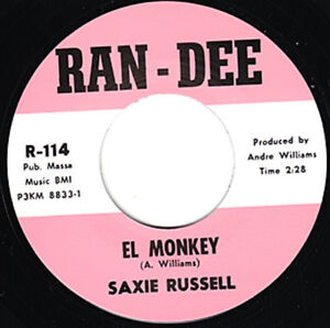 """SAXIE RUSSELL El Monkey Re. 7"""" 45rpm Stompin 1963 Mad Mike Titty Shaker R&B HEAR"""