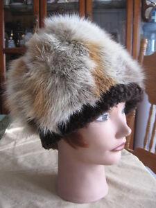 """#W79 men women fox fur hat trim w/brown persian lamb fur  21""""in"""
