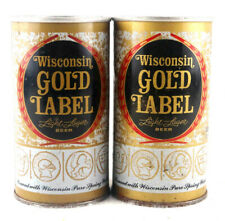 Qty. 2 Wisconsin Gold Label Beer Can Steel Vintage 1970's Top & Bottom Opened