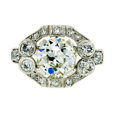 Antique Art Deco Platinum GIA 3.17ctw European Diamond Solitaire Engagement Ring