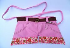 KIDS HANDBAG / PENCIL CASE-FUNKY GIFT Pink SHORTS Fabric with Shoulder Strap-NEW