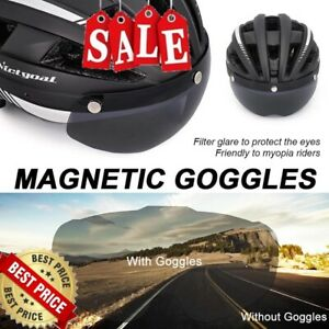 Victgoal Bicycle Helmet Led Light Detachable Magnetic Goggles Remove Sun Visor