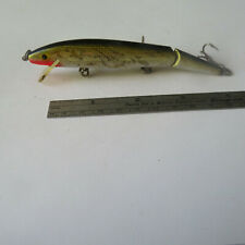"""FISHING LURE  REBEL  4½""""   JOINTED   FLOATER  MINNOW  BLACK &  GOLD"""