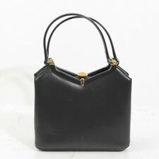PRECIOUS SAKS FIFTH AVENUE LEATHER NAVY BLUE MINI BAGUETTE TOTE MADE IN FRANCE