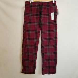 Croft & Barrow Sleep/Lounge Pants - Fleece - Burgundy Plaid - M -  NWT - POCKETS
