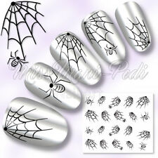 Las transferencias de agua de Uñas Calcomanías Pegatinas Halloween telarañas Arañas Araña webs K001B