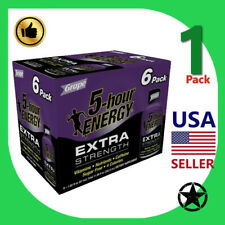 1 Pack 5 Hour Energy Extra Strength Grape 6 Pack