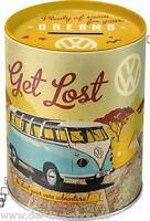 VW Bus T1 - Get Lost - Blech-Spardose - 10x13cm - Neu & OVP