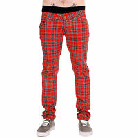 DRAINPIPE STRETCH SKINNY JEANS RED TARTAN MENS UNISEX PUNK ROCK RETRO VTG INDIE