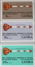 ZAMBIA SAMBIA 1973 108-10 105-07 3rd Commonwealth Conf. Mace Zepter MNH