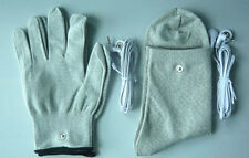 Conductive Electrode Massage Gloves & Socks & 2pcs Cables Use With TENS Machines