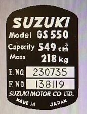 SUZUKI GS550 HEADSTOCK FRAME RESTORATION DECAL