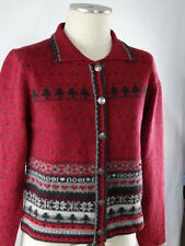 Woolrich Gray & Berry Red Christmas Cardigan Sweater Womens S - 100% Lambswool