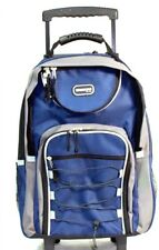 "20"" Navy Blue Large Rolling Backpack Wheeled School Bookbag Travel Carry-On Bag"