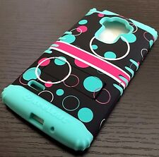 For LG G Stylo LS770 - HARD&SOFT RUBBER HYBRID ARMOR SKIN CASE BLUE PINK BUBBLES